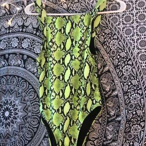 faux snakeskin bathing suit